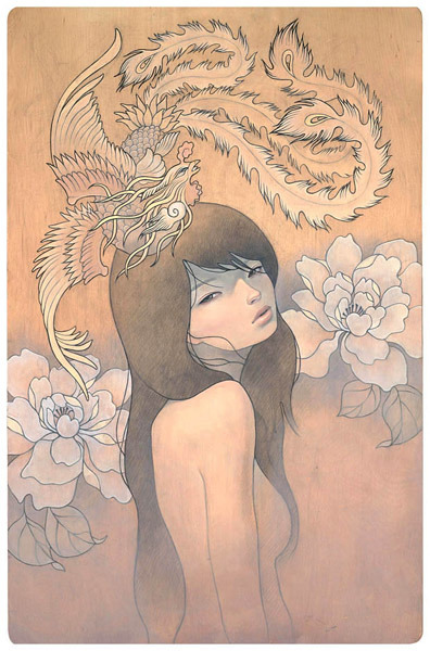 ilikeartalot:  Her Secret Bird by Audrey Kawasaki