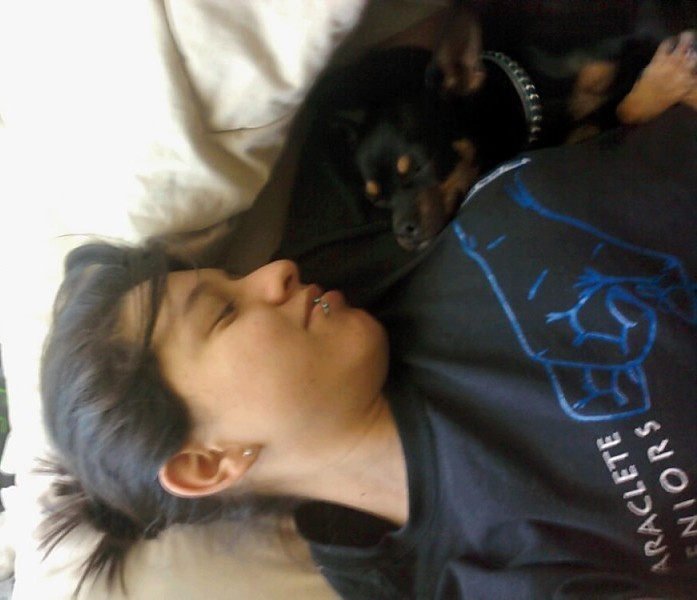 me and my chiweenie named crusher. (: Submitted by zednanrehelise.
