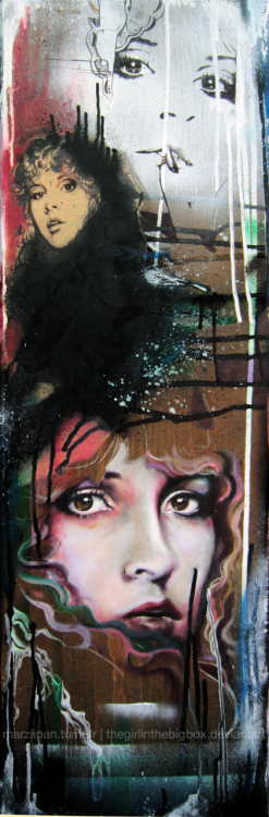"marziipan:  painting of Stevie Nicks I did ages ago.  -sharpie on butcher paper, spray paint and oils on wood. 12""x36""  Steeeeviiiiieee!"