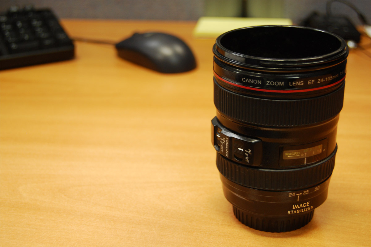 Canon lens mug (but picture was taken with Nikon )