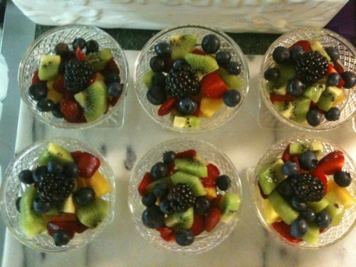 Fruit salad starters for breakfast service this morning.