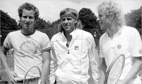 "Tennis greats— John McEnroe, Bjorn Borg and Vitas Gerulaitis. (via TRUE WIMBLEDON LEGEND | THE ENIGMATIC BJORN ""ICE"" BORG « The Selvedge Yard) BFFS!"
