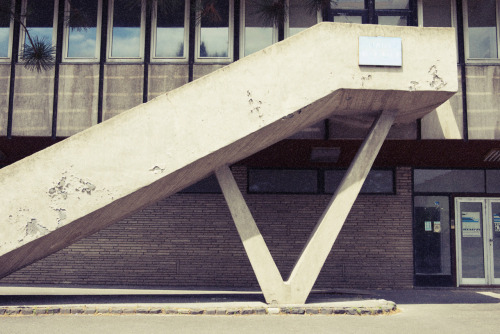 Daily inspiration: 70s staircase in Balatonfuzfo, at the entrance of a closed factory. (via: annakovecses)