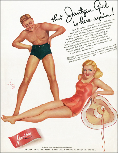 Jantzen Swimsuit ad 1941. Illustrated by Vargas