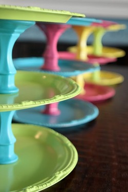 DIY Cupcake Stand via Joy's Hope (Supplies purchased at Dollar Tree = inexpensive project!)