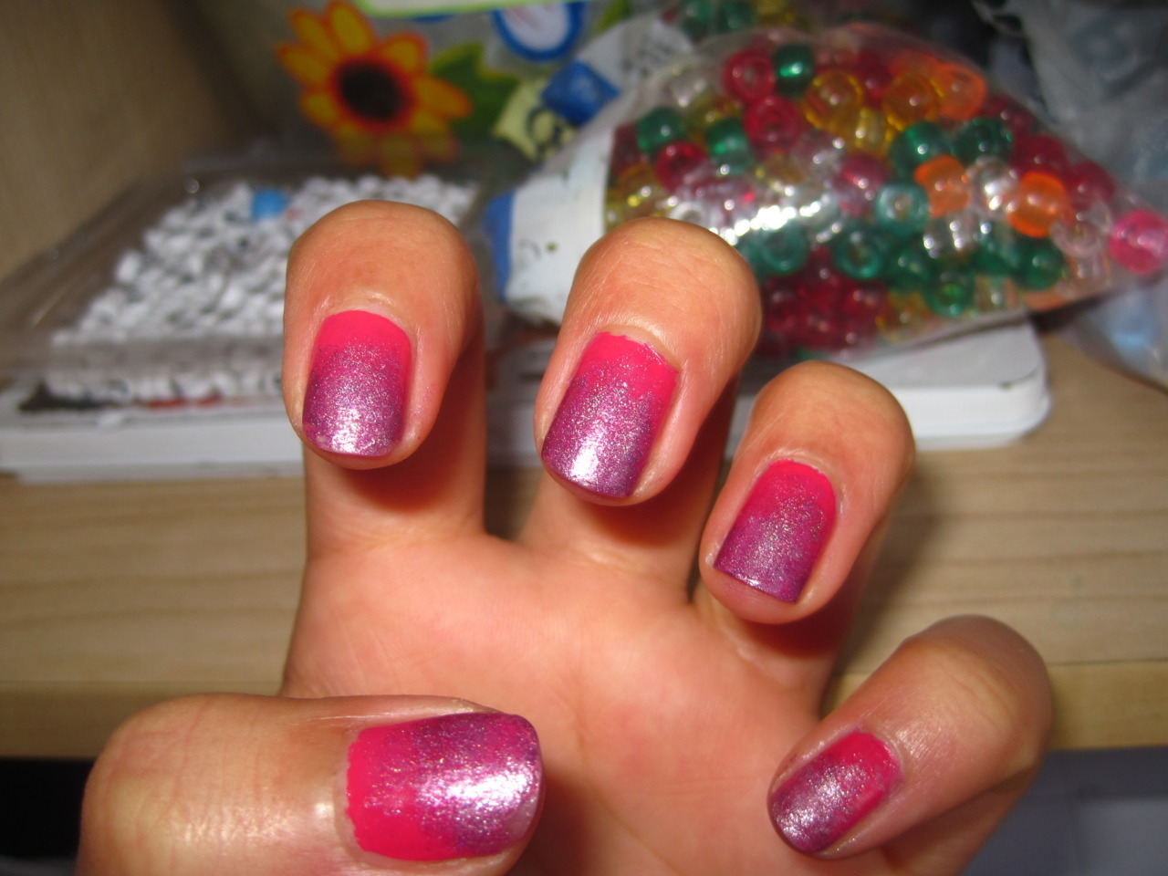 my first attempt at gradient nails…not too bad I would say!