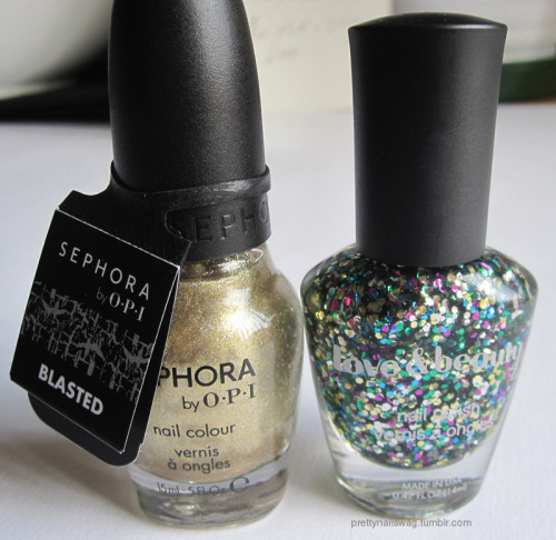 Latest purchase, can't wait to try em out…Sephora by OPI - Gold Blasted and F21 Love & Beauty - Multi