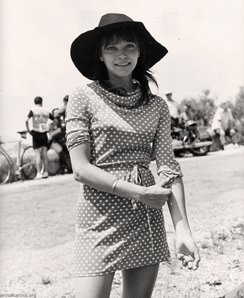 Anna Karina on the set of Laughter in the Dark, 1969.
