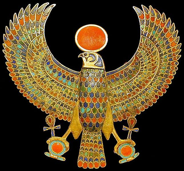 theancientworld:  A jeweled falcon of Tutankhamun holding the 'ankh' or sign for life in Ancient Egypt