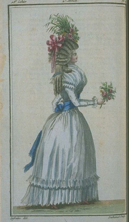 Magasin des Modes, August 1787.  I love the colors and her sheer, flounced petticoat!