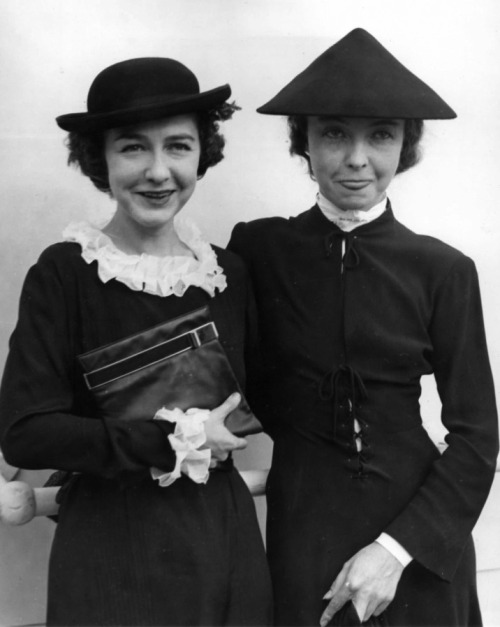 "theloudestvoice:  Dorothy and Lillian Gish, c. 1935 ""When Dorothy goes to a party, the party becomes a party: When I go to a party, I'm afraid it very often stops being a party…All people amuse her…I have fun, too, but it is only the fun I get out of apparently never-ending work."" ~Lillian Gish in Lillian Gish: Her Legend, Her Life  those hats! those sleeves!"