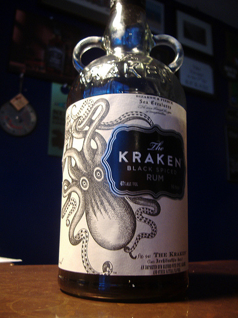 "laughswithwolves:  Kraken by howyadoin on Flickr. One day I will sit at a bar, point at the most interesting, disturbing, or tantalizingly beautiful bottle and say to the bartender, ""Hit me with your best shot."" I just hope it doesn't come out of the sea to eat me."