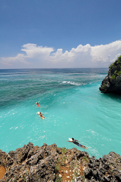 """Surfers In The Sea"" Suluban Beach, Pecatu 