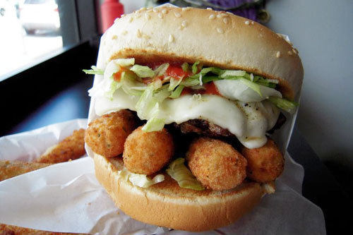 gastrogirl:  an 'uncle boy's' burger with mozzarella sticks.