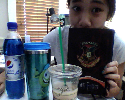 For BC @boroncarbon Blue Pepsi, Mike Wazowski thermos thing from Tokyo Disneyland, ~free~ caramel macchiato, and a Harry Potter notebook.