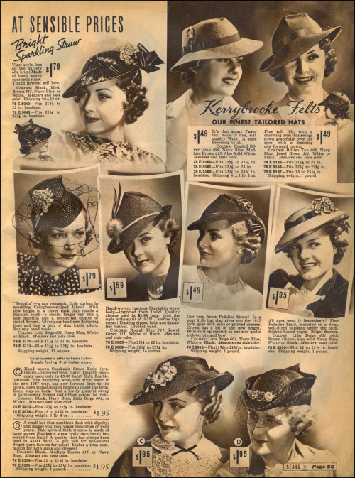ladylikelady:  Ladies Hats/Sears Catalog, 1937  Fetching!