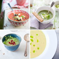 Four cold soups recipes Recipes available over athttp://www.mintdesignblog.com/2011/05/this-weeks-recipe-cold-soups/