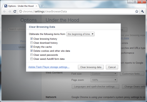 Chrome - When deleting browsing data, it lets you obliterate data from the beginning of time. /via Milan
