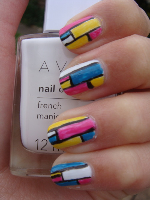 Random retro/abstract nail design :) These were inspired by luxuriousnails' amazing video tutorial.
