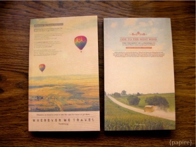 Vintage LOMO Kraft Notebooks Designs: (From Left)  Wherever We Travel | Ode to the West Wind Type: Notebook Dimension: 10.5 * 18cm 1.3cm thick Finally! A lovely, lovely notebook filled with thin, crisp kraft paper that has a generous amount of pages to pen down your thoughts, doodles, and writings of inspiration, but yet, one that is not too heavy to lug around. {papire}. is head over heels in love with this series! SGD$6.00 per lovely book Mailing list members enjoy it at: SGD$5.50 each.   Detail: