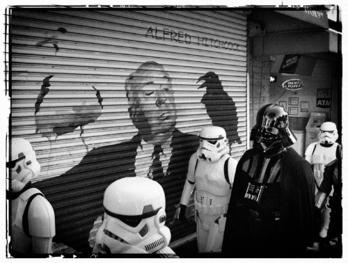 heyoscarwilde:  The Imperial March photograph by Alessandro Carloni :: via alecarloni.blogspot.com  Hitchcock + Star Wars = Epic Win