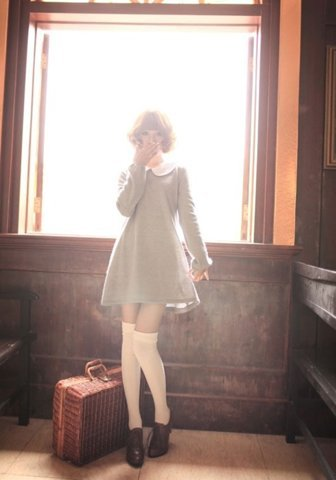 "Classic babydoll look. Love it with over-the-knee socks!As always, I'm fascinated by the question of at what age does this style start to look ridiculous? At what point does ""underage chic"" start to look like ""overage desperation""? There is only one person over 25 who can truly own this — Betsey Johnson~!"