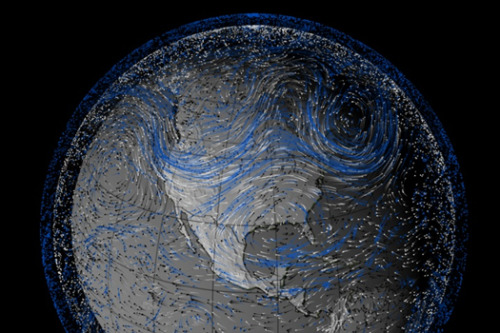 "A NASA visualisation of the wind patterns from a year that, like this year, cause extensive flooding along the Mississippi. From ""winds of drought, winds of flood"" at mammoth, via new-aesthetic."