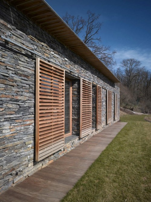 wood shutters on rolling rail