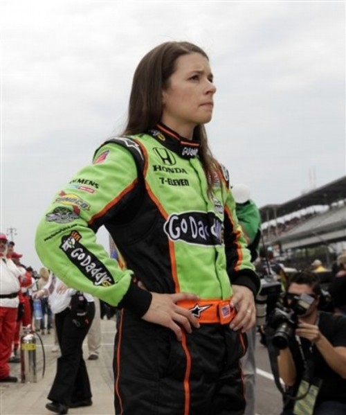 Danica Patrick looks down the track after she was bumped from the field on the opening day of qualifications for the Indianapolis 500 auto race at Indianapolis Motor Speedway in Indianapolis, Saturday, May 21, 2011. (via Photo from AP Photo)