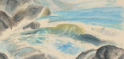 Oil pastels. Failed attempt at a seascape. Water is tough! But, even a fail is a lesson. Never be afraid to fail.