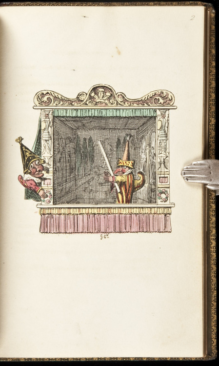 "Punch and Judy With Illustrations Drawn and Engraved by George Cruikshank. Accompanied by the Dialogue of the Puppet-Show, an Account of its Origin, and of Puppet-Plays in England London, 1828.  With 24 hand-colored etched plates by George Cruikshank including frontispiece, plus other wood engraved vignettes in the text and on the title-page. (8vo) 19x11.5 cm. (7½x4½""), later straight-grain green morocco, borders in gilt and blind, spine gilt, later spine label, all edges gilt. First Edition.  Rarely encountered with the plates colored."