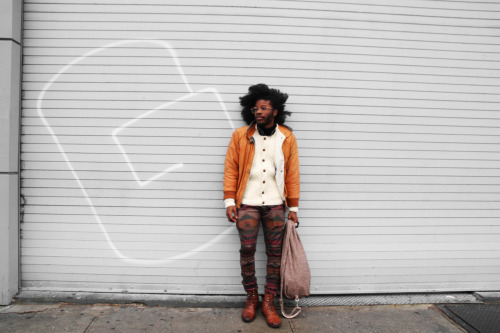 kjohnlasoul:  smh those pants man! theloveapp:  Jesse Boykins III  for  GQ Korea Photo by Mel D Cole  Cardigan by Raval & Knight | Pants by BRZE' |  Bag by Raval and Knight