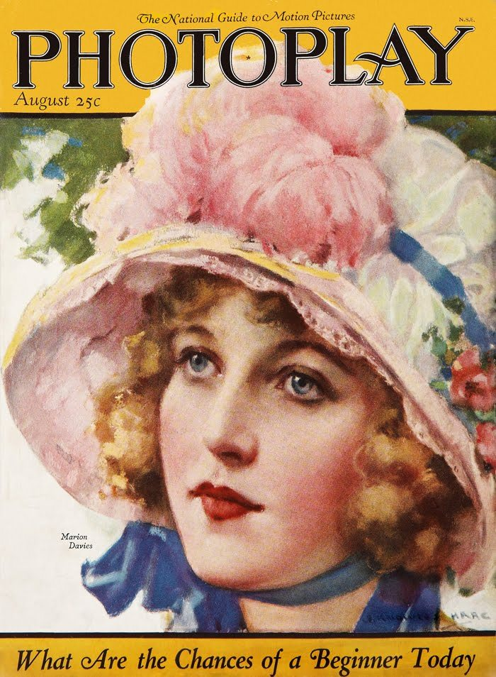 Marion Davies - Cover Art by J. Knowles Hare - Photoplay - August 1923 - via