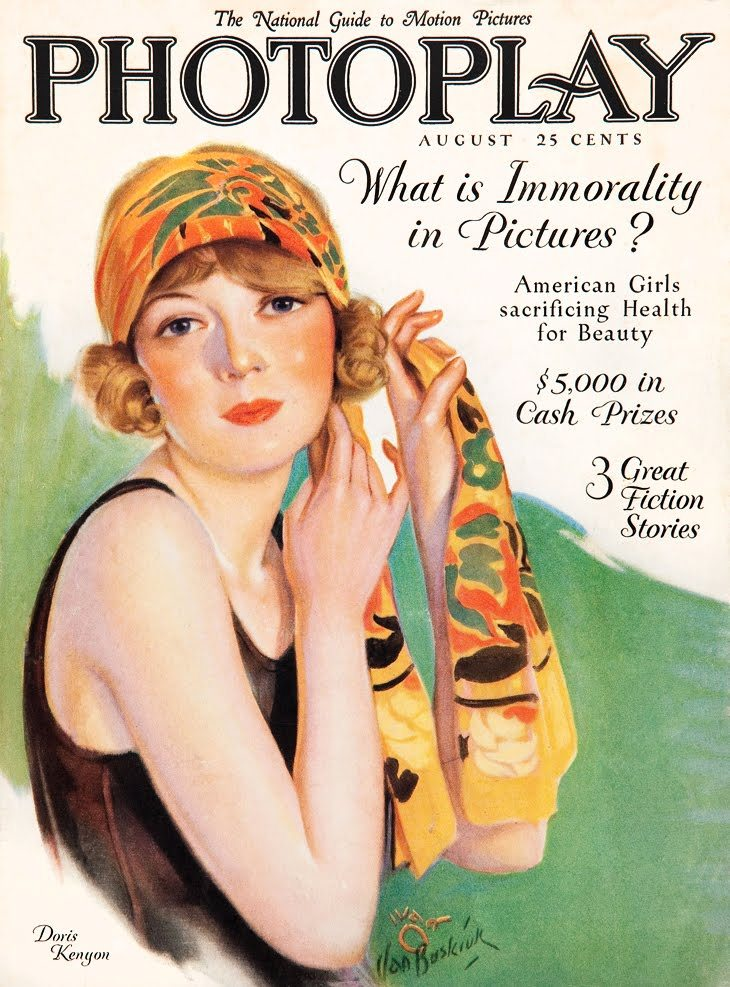 Doris Kenyon - Cover Art by Carl Van Buskirk - Photoplay- August 1926 - via