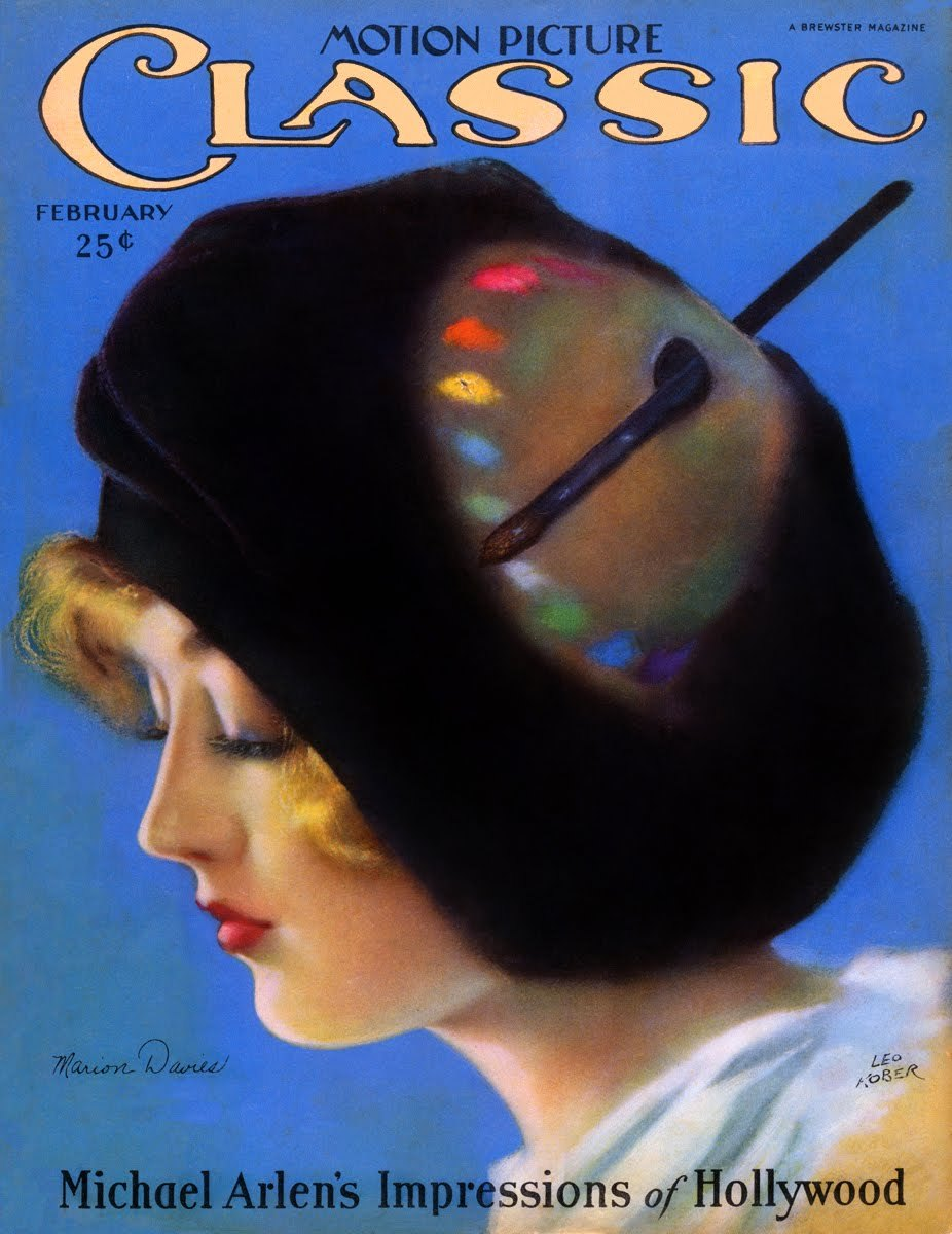 Marion Davies - Cover Art by Leo Kober - Motion Picture Classic - February 1926 - via