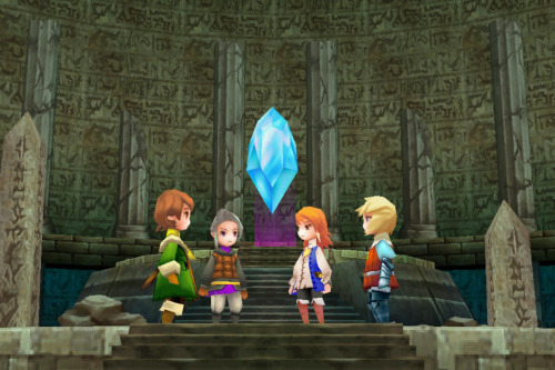 [Picture: a screenshot from the DS release of Luneth, Refia, Arc, and Ingus standing around one of the Crystals of Light.] thefinalfantasyblog:  Arc, Luneth, Refia and Ingus, Final Fantasy III.