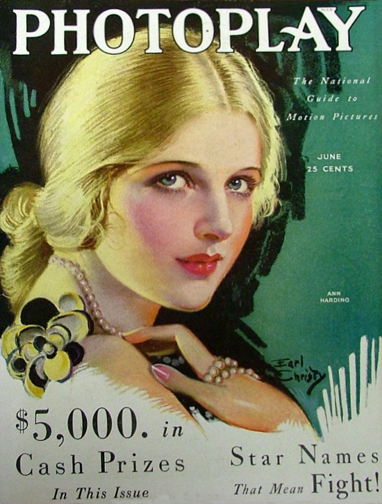 Ann Harding - Cover Art by Earl Christy - Photoplay - June 1930 -  via