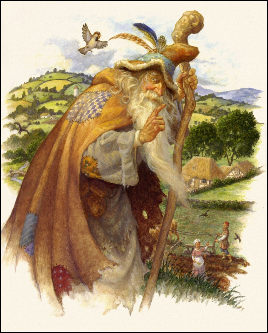 Scott Gustafson ~ Merlin the Wizard visits a Farmer and his Wife ~ from Tom Thumb in Classic Fairy Tales ~ via The Pictorial Arts Artwork © 2009, Scott Gustafson.