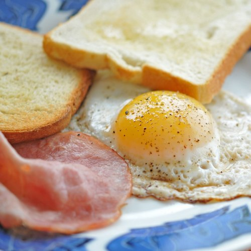 Duck Egg Breakfast with Ham and Toast