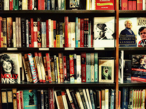 Bookstore Shelves, Harvard Square (by dirtynine)