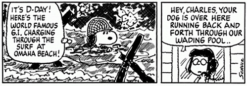 nevver:  Peanuts  June 6 I remember heading to Omaha Beach some years back—still a gloomy place, decades on. Glad someone did a D-day-themed Tumblr post.
