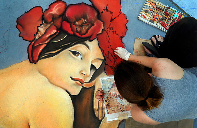 "Dawn Wagner, of Thousand Oaks, CA, works on her rendition of Alphonse Mucha's ""Summer"" during the 9th annual Denver Chalk Art Festival on Larimer Square in Denver, Colo., Saturday June 4, 2011. During the 2-day event, 230 artists were expected to cover 67,000 square feet of pavement. (Photo by Craig F. Walker, The Denver Post - Click for more)"
