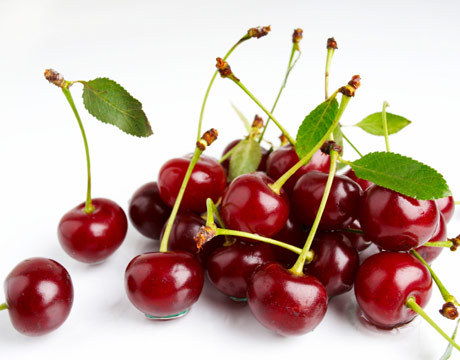 cherries' rich red color lends them benefits seen and unseen. cherry anthocyanins,  the pigments that give them their color, pack a powerful nutritional  punch.  these antioxidants have been shown to have a significant impact  on relieving muscle and joint soreness more quickly as well as possibly  lowering the risk of heart disease, diabetes, and high cholesterol.  cherries contain melatonin, which has been found to help regulate  the body's natural sleep patterns, aid with jet lag, prevent memory loss  and delay the aging process.  other important nutrients such as beta  carotene, vitamin C, potassium, magnesium, iron, fiber and folate are  also present. sadly, cherries have a very short growing season that peaks in the middle of the summer. however. lucky for us. they are currently in season. go buy those cherries.