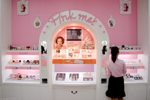 "Yesterday, I brought my mom to Etude House for her to see my new favorite make-up brand. At first glance she said ""i think Etude's make-up is not suitable for me, look at this one, it has a ribbon on it, cute stuffs like this doesn't match my age."" of-course i know what she meant, then i told her not to mind the princess like image and packaging of the brand (which i find interesting) what matters is the quality. After the little talk, I asked their sales lady to put make-up on my mom for her to see the beauty of this product then the next thing I know is she was already at the counter hahaha..   …and yeah, Etude House's interior is breathtaking, though I'm not a fan of color pink and girly stuffs, I'd still definitely say that it's an eye-catcher."