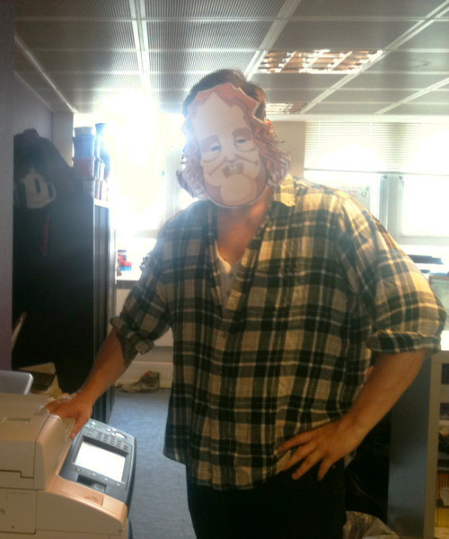 Dan spent the morning making a Mask Mask, and is now wearing it around the office.