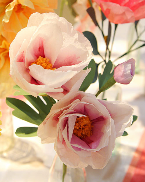 scissorsandthread:  Paper Peonies | Martha Stewart I love having flowers around my house…and so does my cat Sophie. In fact, she loves to nibble on anything grass or flower related! She doesn't get to go outside here in the city because a) I don't want any of the native fauna to be attacked by her (or attack her!) and b) she has a habit of making a run for it when she's outside. So yes, any flowers inside are her joy! But I'm scared about her getting sick from snacking on flowers so I like to have faux flowers. And these aren't creepy plasticy like faux flowers can be. Also it means she won't be knocking over vases filled with water. She always has fresh water (in more than one place!) but once I witnessed her picking flowers out of a vase with her paw and drinking the water. Cats are weird.