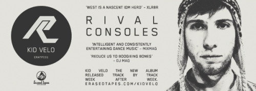 RIVAL CONSOLES – KID VELO THE NEW ALBUM. RELEASED TRACK BY TRACK. WEEK AFTER WEEK. 11.4.-27.6. 2011 CD/DL now available for PRE-ORDER via the Erased Tapes Online Store: http://erasedtapes.com/store/index/ERATP031 Be early! London-based purveyor of intelligent dance music Ryan L. West aka RIVAL CONSOLES returns with his sophomore album KID VELO, released track by track over the course of 11 weeks. Every Monday will see a new album track being streamed exclusively from just one online portal connected to one exclusive online store, before going global on Fridays.  'With brains supposedly adapting to online networks and attention spans reduced to 140 characters at a time, this is bite-sized music for a bite-sized world', Erased Tapes label founder Robert Raths explains. The campaign will kick off on April 11 and cumulate in the official album release on June 27, 2011.  After a short promo stint to Berlin, Rival Consoles will return to London for an album launch show at The Nest in Dalston on June 23.