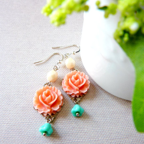 Pink Ruffle Roses with Turquoise Bell Flowers and Ivory Melon Beads Earrings via Katheyl