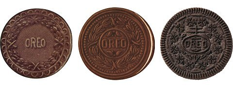 "From the NY Times "" Who made that Oreo emboss?  ""There are many imitations, but there is only one Oreo. Thankfully, distinguishing it  from the rest is easy, due to the signature pattern that's printed on each chocolate  wafer. Seen above is a nonedible representation by the artist Andrew Lewicki, titled,  ""Oreo Manhole Cover."" Although the sculpture is 28 inches in diameter, cast in iron  and lacks a cream filling, Lewicki's diligent rendering of the pattern makes the likeness  instantly recognizable.   After the National Biscuit Company introduced the Oreo in 1912, its face underwent a  few rounds of adjustments before the contemporary design was settled upon in 1952.  Many Internet resources have credited William Turnier as the man behind the four- leaf clover and serrated-edge design, but Nabisco could confirm only that a man by  that name worked for the company during that time as a ""design engineer."" Via: NY Times"