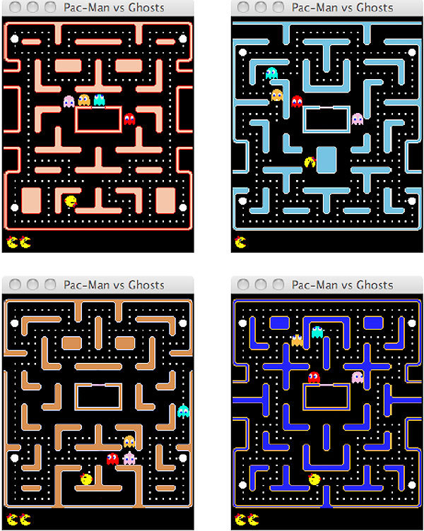 AI programs do battle in Ms Pac-Man via New Scientist  Everyone loves a few rounds of a classic video game, but why should humans have all the fun? The Ms Pac-Man vs Ghost Team Competition serves to redress the balance by putting AI controllers in charge of  video game characters in an effort to see which plays the game best. Competitors could submit AI controllers for either the titular Ms  Pac-Man or the team of four ghosts and each entrant faced off against  the rest to determine a winner. The Ms Pac-Man AI had to maximise its  score, while the ghost AI had to prevent Ms Pac-Man from scoring. The  competition was organised by Philipp Rohlfshagen and Simon Lucas, two  computer scientists at the University of Essex, with the results  announced today at the Congress on Evolutionary Computation in New Orleans.  More here